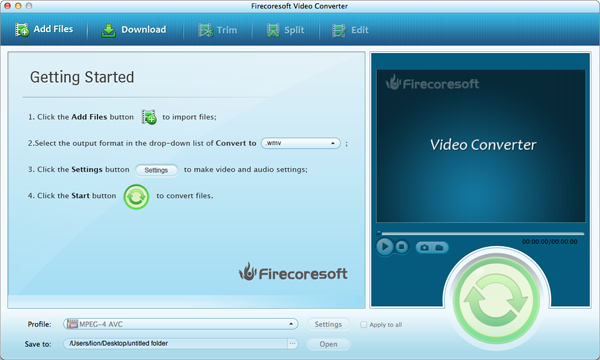 Firecoresoft Mac Video Converter Screenshot 1