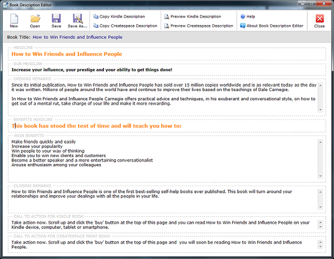 Book Description Editor Screenshot 1