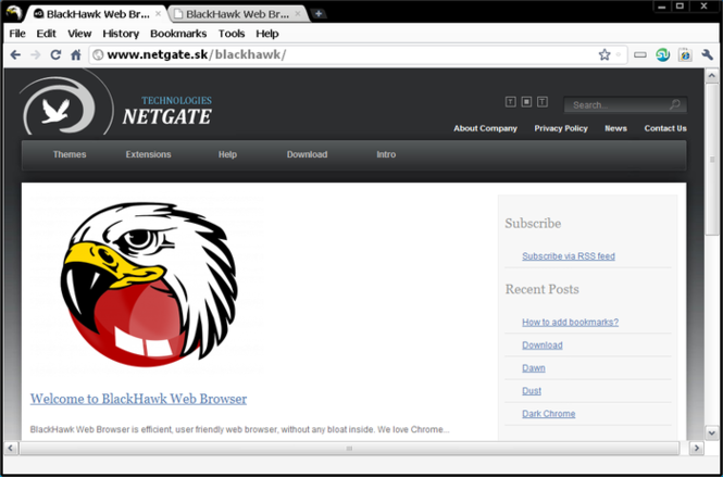 BlackHawk Web Browser Screenshot