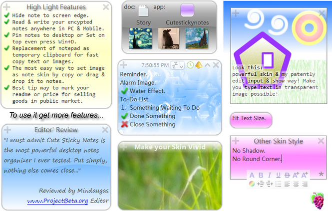 Cute Sticky Notes for win7 XP Vista Screenshot