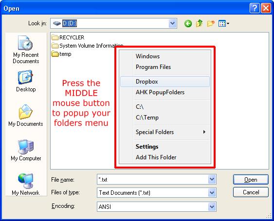 Folders Popup Screenshot 1