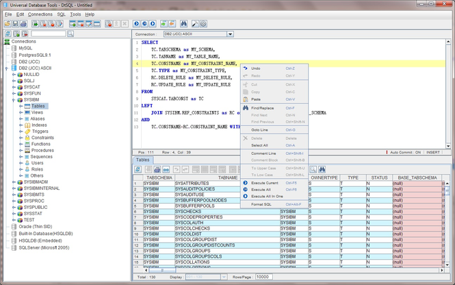 Universal Database Tools - DtSQL Screenshot