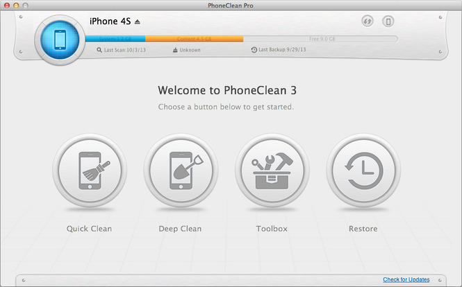 PhoneClean for Mac Screenshot 1