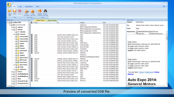Stellar Mailbox Extractor for Exchange Server Screenshot 1