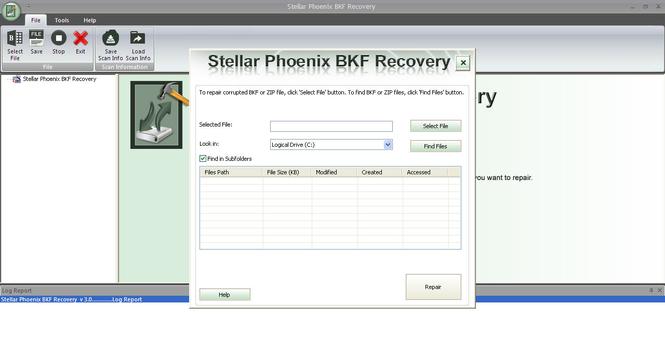 Stellar Phoenix BKF Recovery Screenshot 1