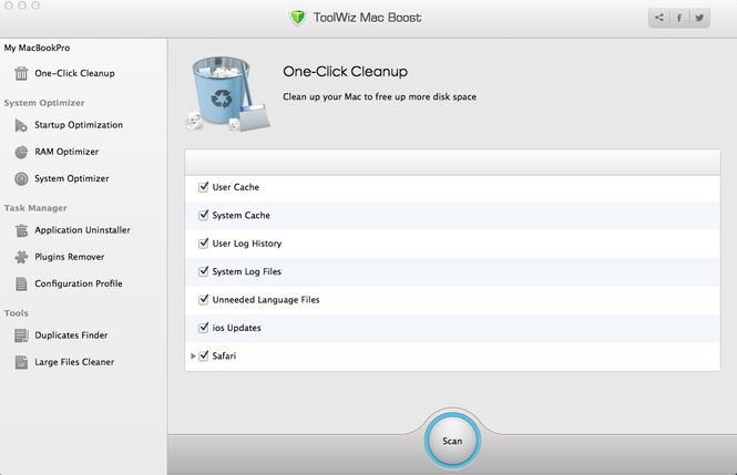 ToolWiz Mac Boost Screenshot