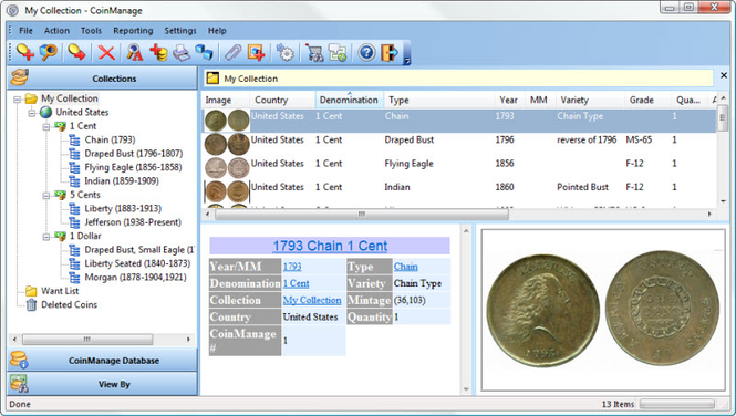 CoinManage USA Coin Collecting Software Screenshot 1
