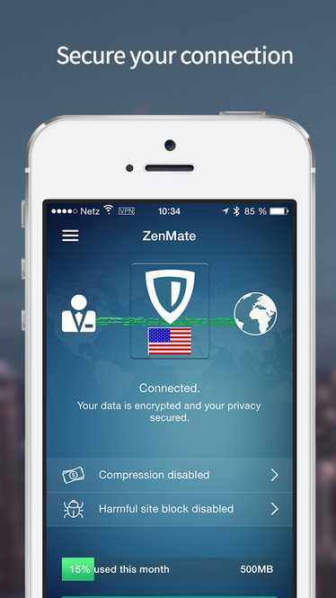 ZenMate Security and Privacy VPN Screenshot 1