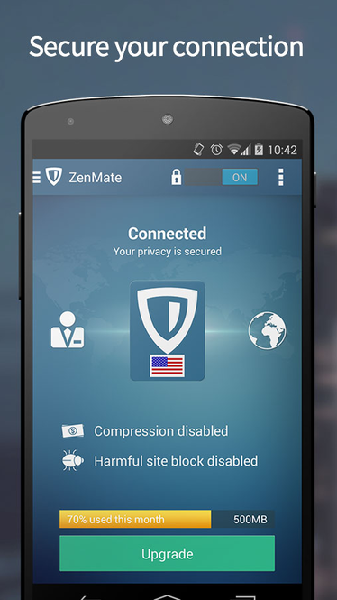 ZenMate VPN for Android Screenshot 1