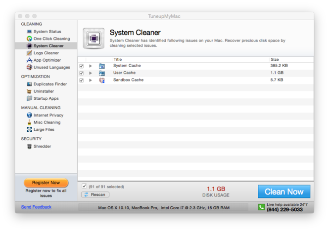 TuneupMyMac Screenshot 3