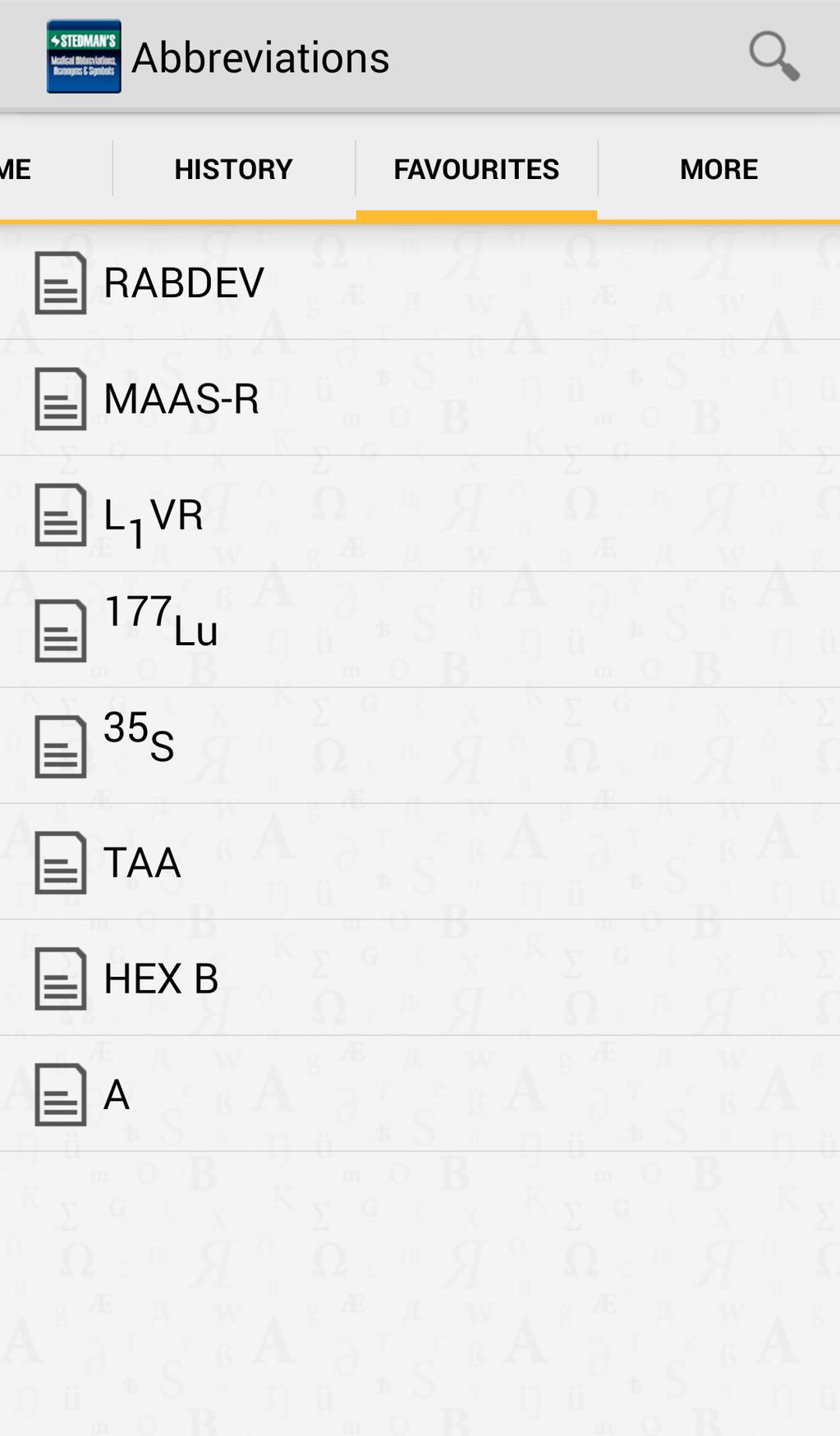 Stedman's Medical Abbreviations, Acronyms and Symbols Screenshot 2