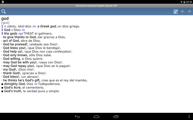 Vox Advanced Dictionary EnglishSpanish Screenshot
