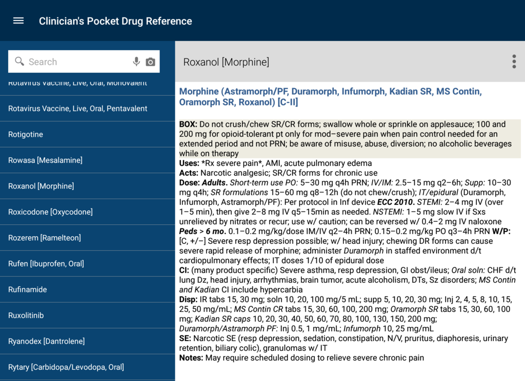 Clinician's Pocket Drug Reference 2016 Screenshot 20