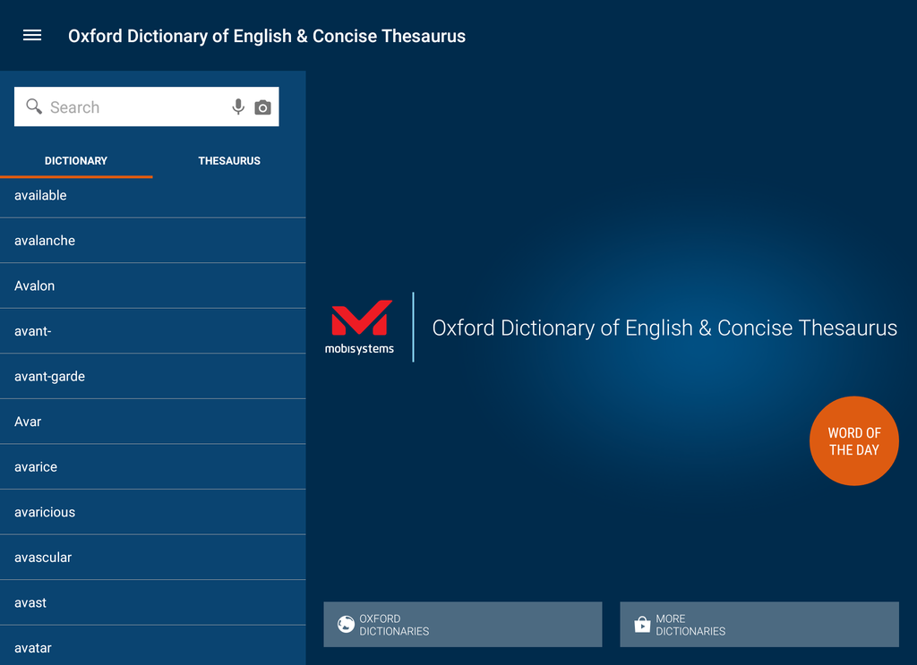 Oxford Dictionary of English and Thesaurus Screenshot