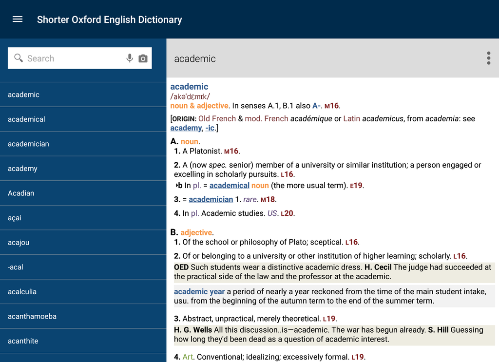 Shorter Oxford English Dictionary Screenshot 3