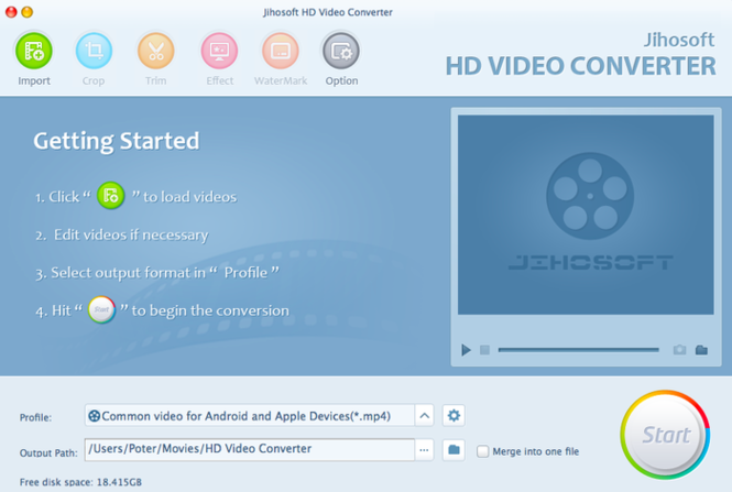 Jihosoft HD Video Converter for Mac Screenshot