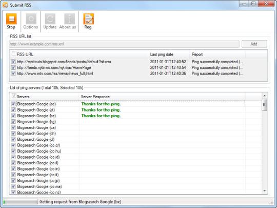 Submit RSS Screenshot