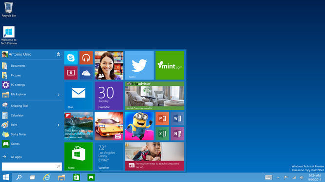 Microsoft Windows 10 Technical Preview Screenshot 1