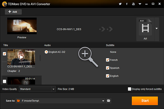 TDMore DVD to AVI Converter Screenshot