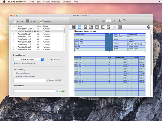 Lighten PDF to Numbers Converter for Mac Screenshot