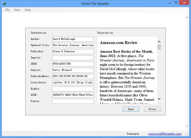 Mobi File Reader Screenshot