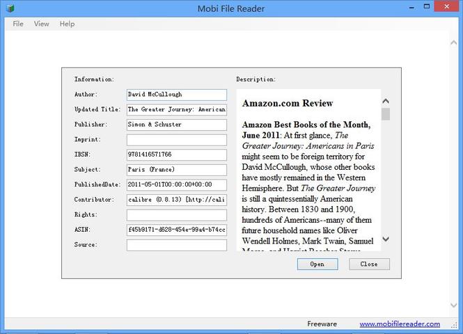 Mobi File Reader Screenshot 1
