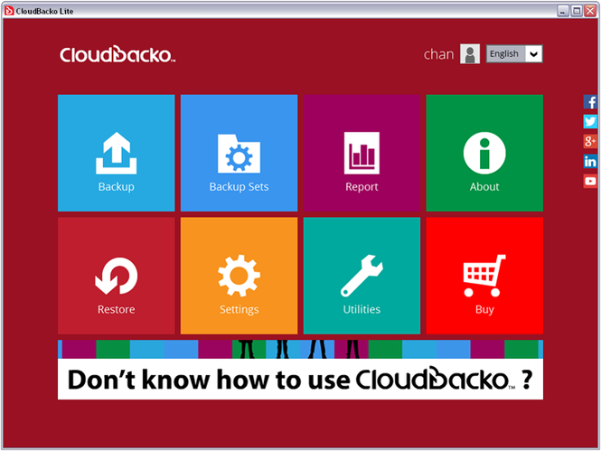 CloudBacko Lite for Windows Screenshot 1