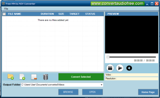 Free MP4 to MOV Converter Screenshot 1