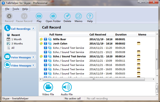 TalkHelper Free Skype Video Recorder Screenshot 1