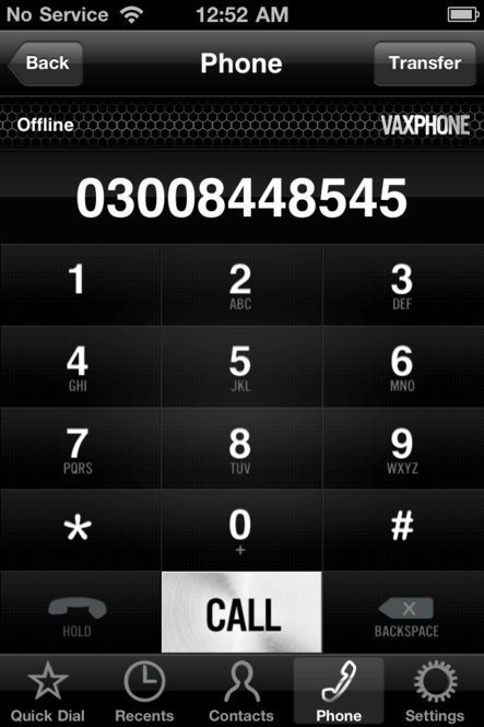 VaxVoIP SIP iOS SDK Screenshot