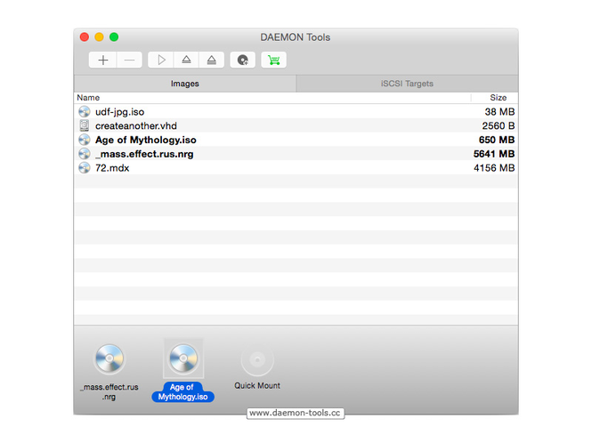 DAEMON Tools for Mac Screenshot
