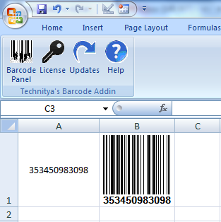 Barcode Add in for Excel and Word Screenshot