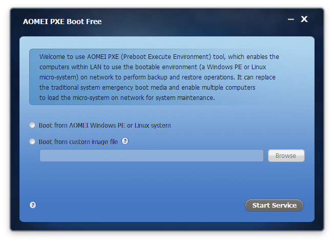 AOMEI PXE Boot Free Screenshot 1