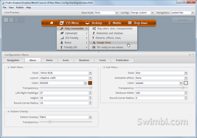 Swimbi - CSS Menu Builder Screenshot 1