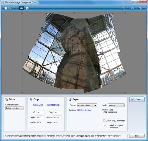 Microsoft Image Composite Editor Screenshot