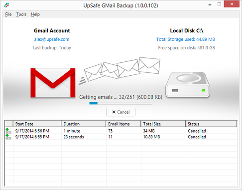 UpSafe Gmail Backup Freeware Screenshot