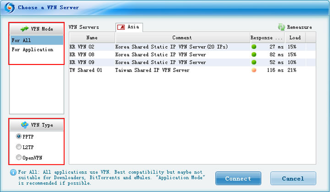 FlyVPN Client For Windows Screenshot