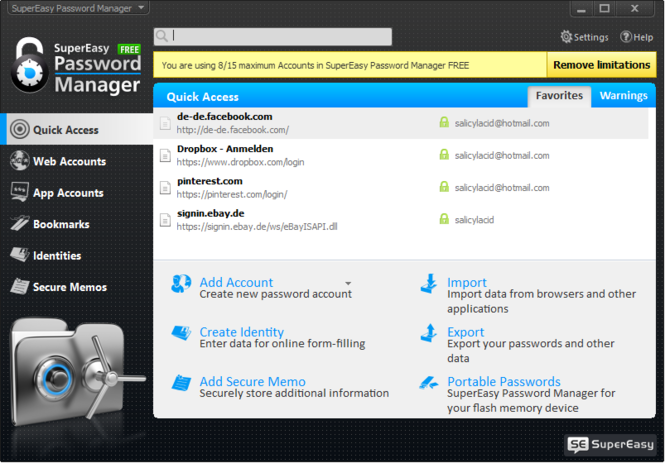 SuperEasy Password Manager Free Screenshot