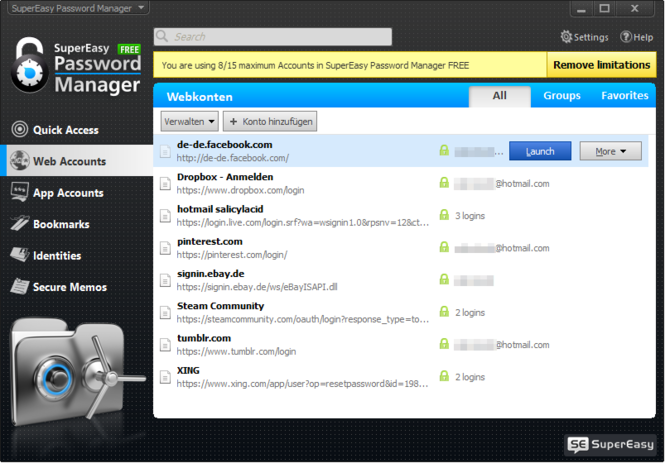 SuperEasy Password Manager Free Screenshot 2