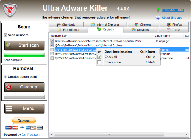 Ultra Adware Killer Screenshot