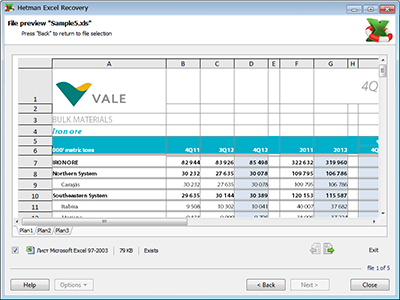 Hetman Excel Recovery Screenshot