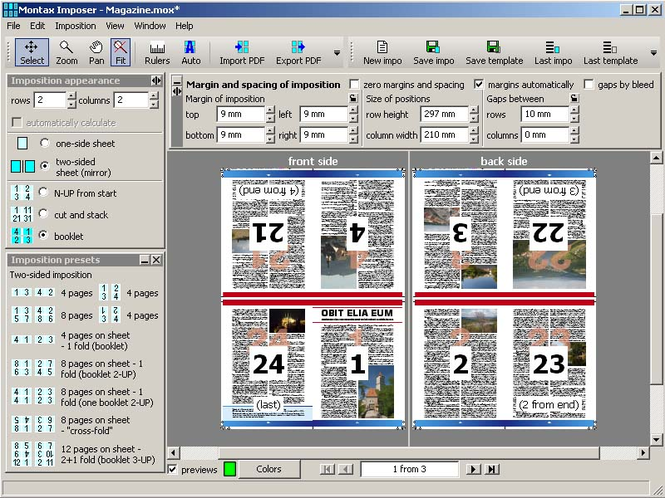 Montax imposer Standard Screenshot
