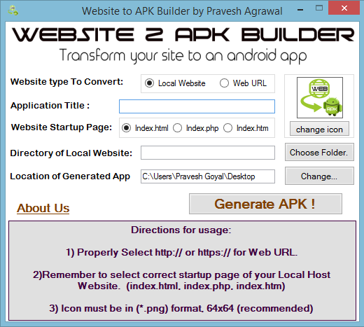 Website 2 APK Builder beta Screenshot