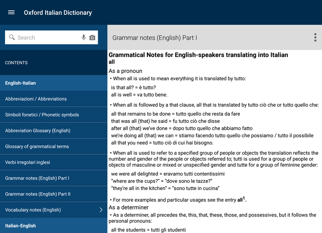 Oxford-Paravia Italian Dictionary Screenshot 8