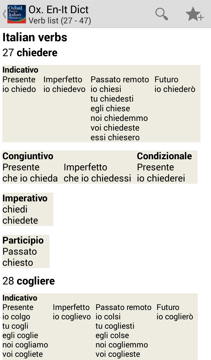 Oxford-Paravia Italian Dictionary Screenshot 17