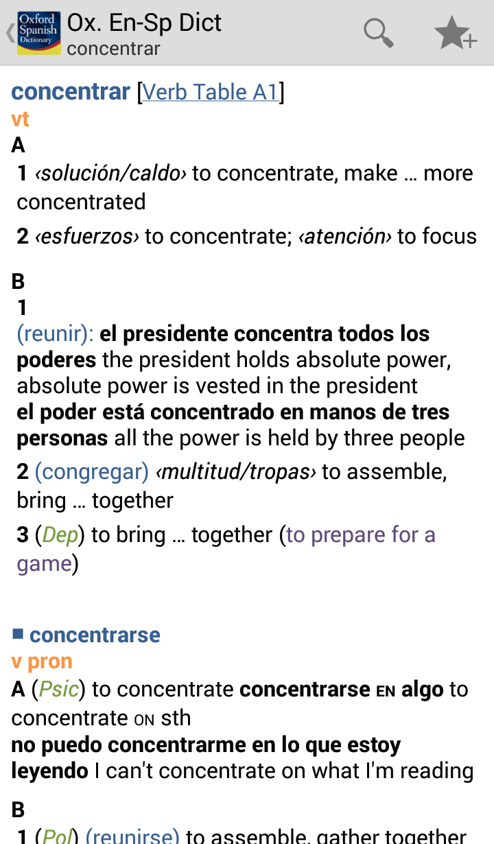 Oxford Spanish Dictionary Screenshot 3