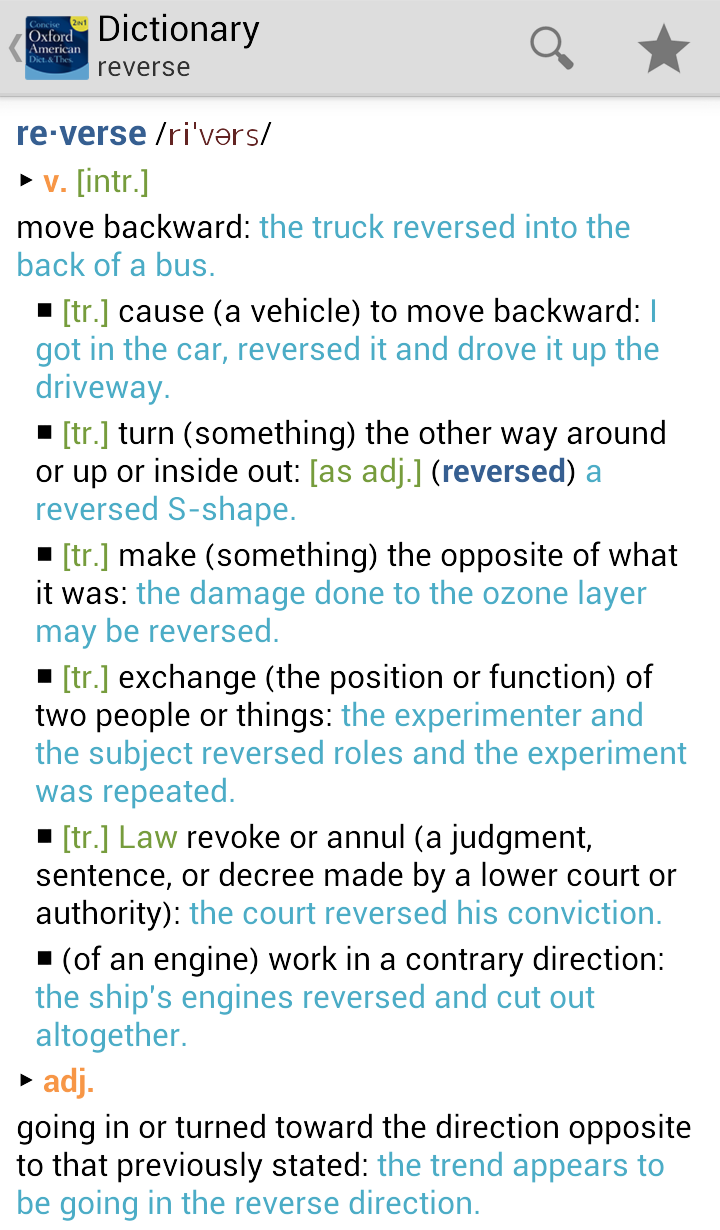 Concise Oxford American Dictionary & Thesaurus Screenshot
