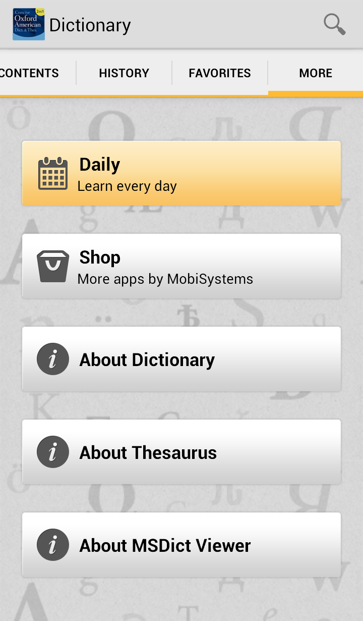 Concise Oxford American Dictionary & Thesaurus Screenshot 7