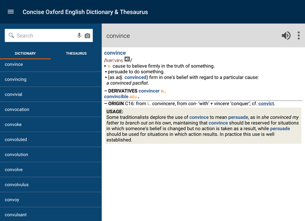 Concise Oxford English Dictionary & Thesaurus Screenshot 7
