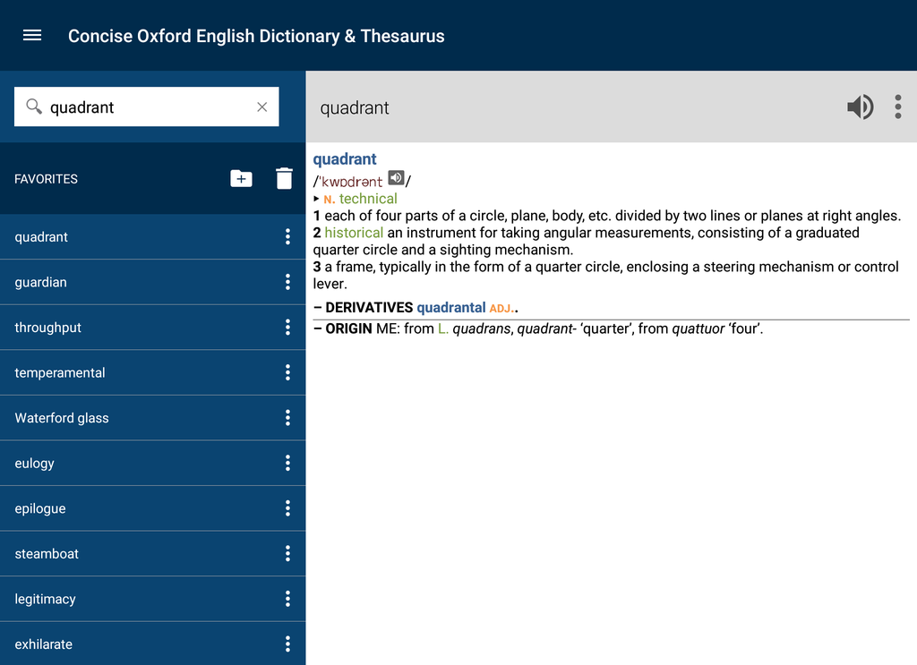 Concise Oxford English Dictionary & Thesaurus Screenshot 10